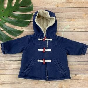 Baby Boden navy blue hooded toggle jacket